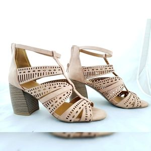 Qupid Chunky  Open Toe Cage Heels Pale Pink